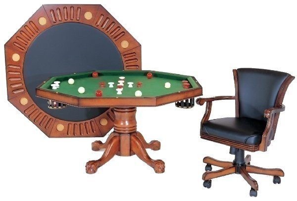 "Berner 48"" Octagon 3N1 Combination Game Table - Antique Walnut"