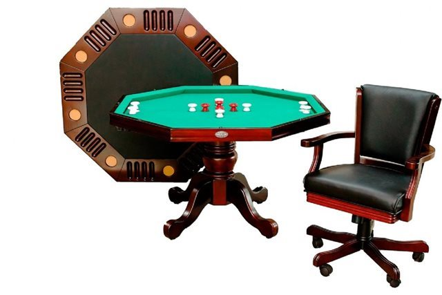 "48"" 3N1 Octagon Poker/Bumper Pool/Dining in Mahogany Finish"