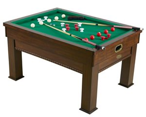 3N1 Rectangular Slate Bumper Pool, Card and Dining Table - Walnut