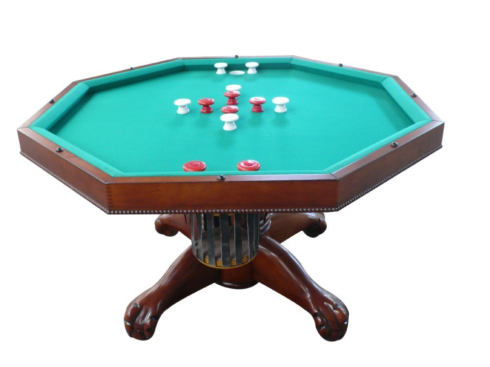 "Berner 3N1 Slate Octagon Combination Game Table 48"" - Antique Walnut"