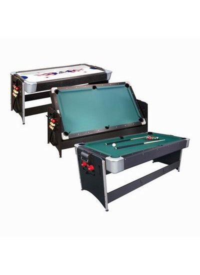 Fat Cat POCKEY 7et#8217; 2-N-1 Game Table (Pool Table and Air Hockey Table) - Black